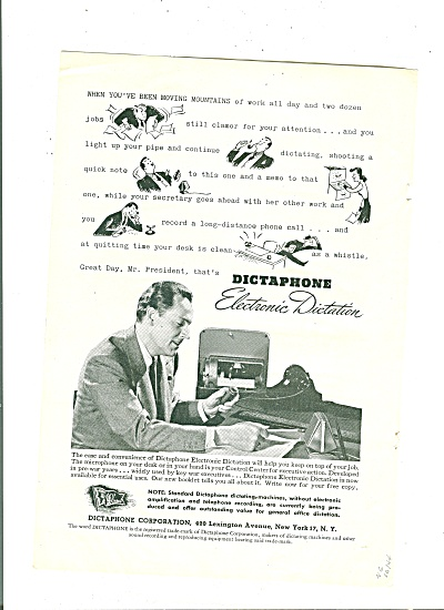 Dictaphone Electronic Dictation Ad 1944