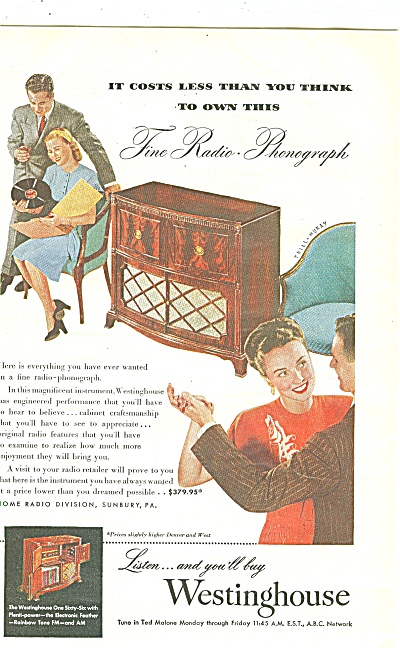 Westinghouse radio phonograph ad 1947 (Image1)