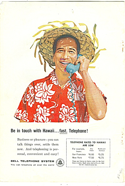Bell Telephone system ad 1960 IN TOUCH HAWAII (Image1)