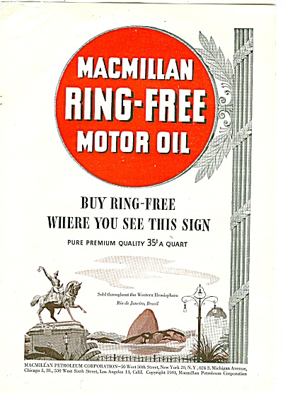 1944 MacMillan Ring MOTOR Oil AD Rio Brazil (Image1)
