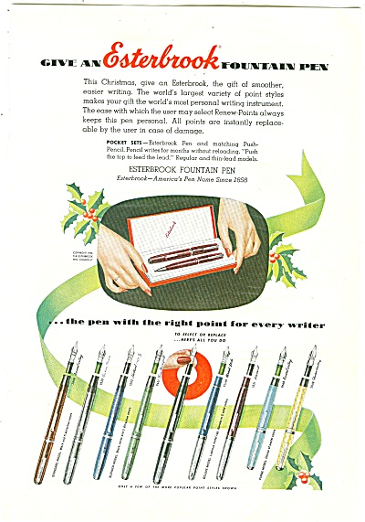 Esterbrook Fountain Pen Ad 1952
