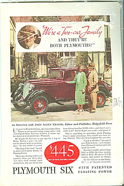 Plymouth Six Automobile Ad 1933