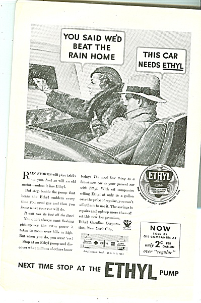 1933 Ethyl Gasoline Ad - Fred Stanley Artwork Caught