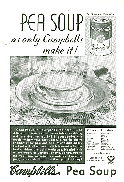 Campbell's Pea soup ad. (Image1)