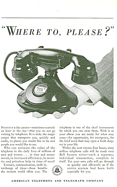 American Telephone and telegraph company ad 1933 (Image1)