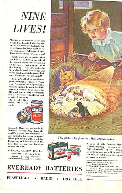 1933 Eveready AD ~ FRANCIS TIPTON HUNTER ART Kittens  (Image1)