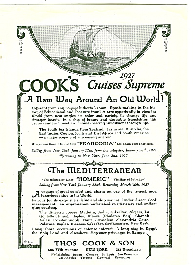 Thos. Cook & Son cruises supreme ads 1926 (Image1)