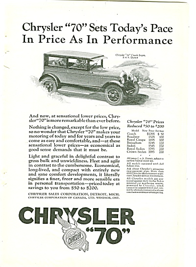 "Chrysler ""70"" Auto Ad 1926"
