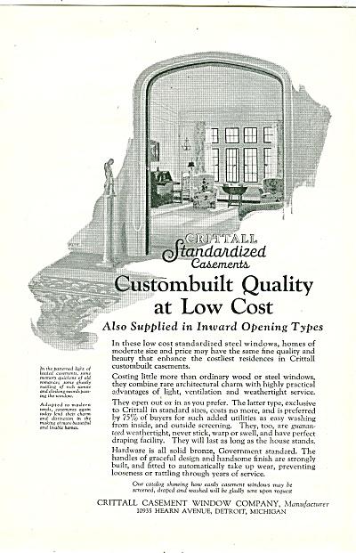 Crittall Casement Windown Company Ad 1926 Window