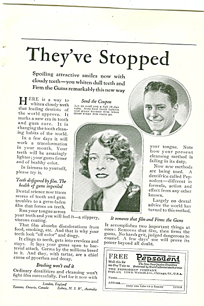 1926 Vintage Pepsodent Tooth Paste Ad Theyve Stopped