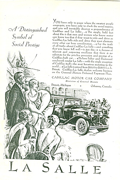 Lasalle Automobile Ad 1929