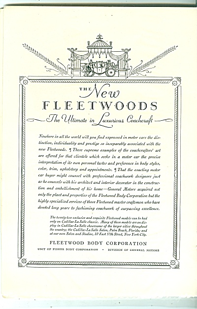 Fleetwood body Corporation ad 1929 (Image1)