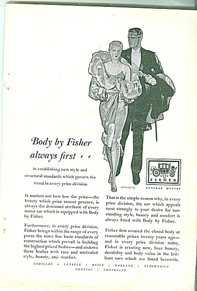 Body By Fisher Ad 1929