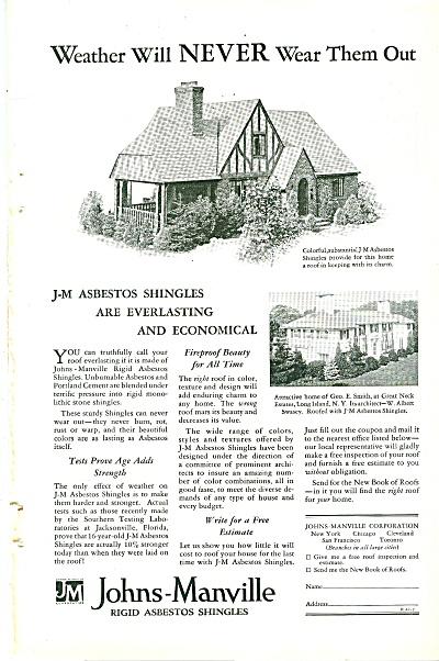 Johns Manville asbestos shingles ad 1929 (Image1)