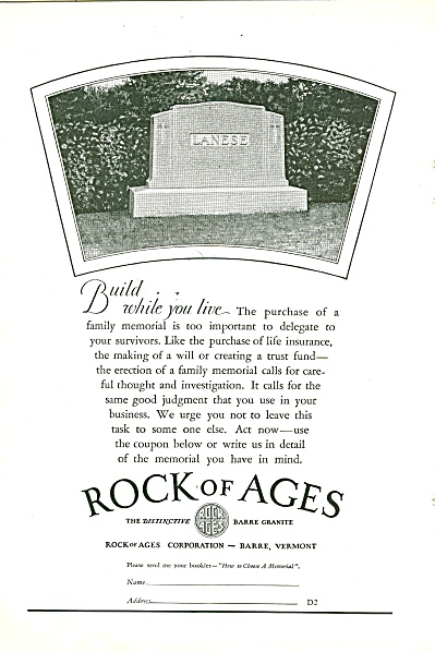 Rock of Ages ad 1929 (Image1)