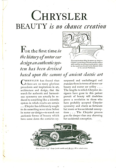 Chrysler Automobile Ad 1929