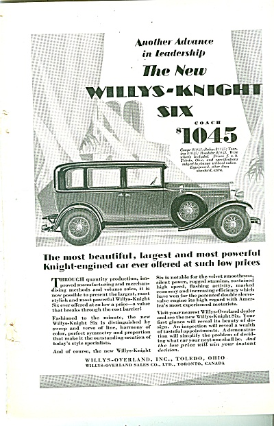 Willys-knight Six Auto Ad 1929