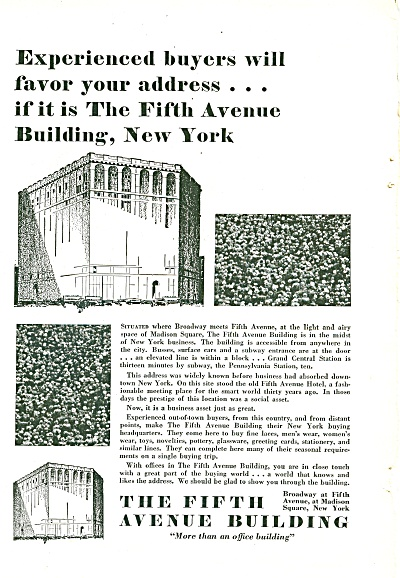 The Fifth Avenue Building ad 1929 (Image1)