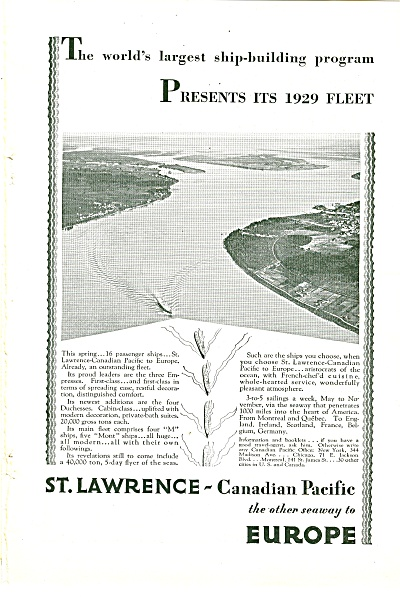 Canadian Pacific-st. Lawrence Ad 1929