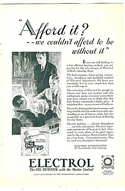 Electrol oil burner ad  1929 (Image1)