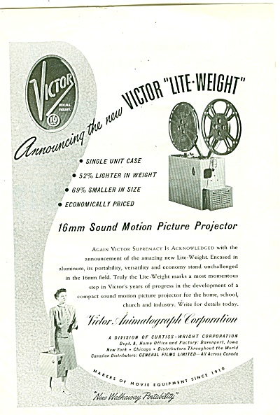 Victor lite weight projector ad 1947 (Image1)