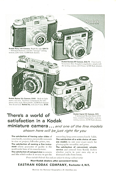 Eastman Kodak Commpany Ad 1955