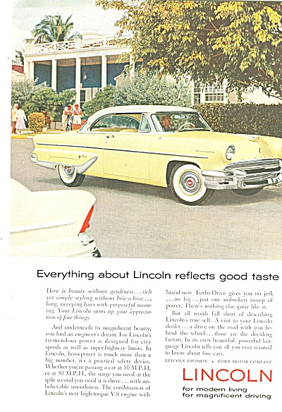 Lincoln Automobile For 1955 Ad
