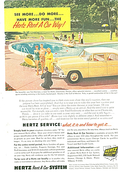 1955 Rental Car Hertz Rent A Car System Ad 1955
