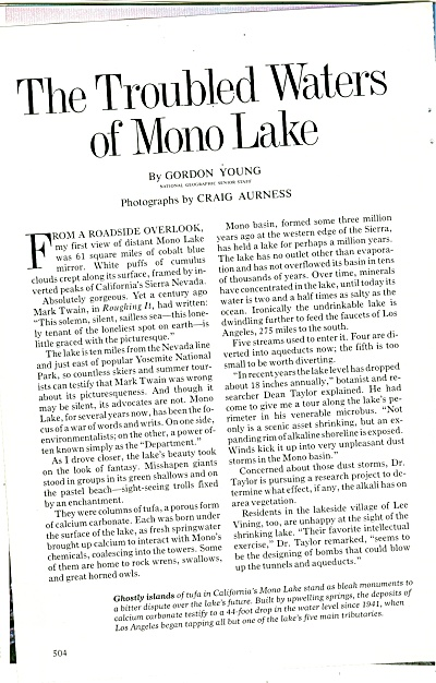 The troubled Waters of MONO LAKE  - 1981 (Image1)