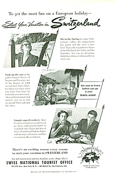 Swiss National Tourist office ad 1951 (Image1)
