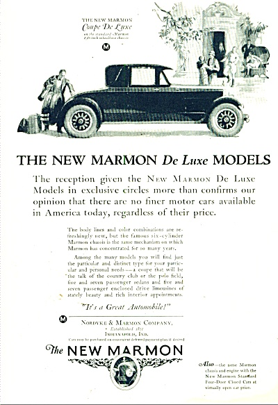 The New Marmon Automobile Ad 1925