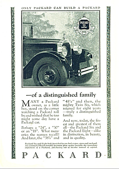 Packard Motor Car Ad 1925