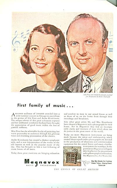 Magnavox radio phonograph - LILY PONS 1943 (Image1)