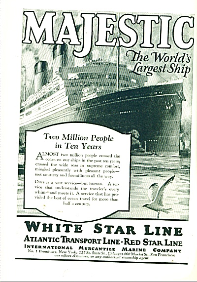 White Star Ship Line Ad 1925