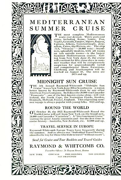 Raymond & Whitcomb co. Travel ad -  1925 (Image1)