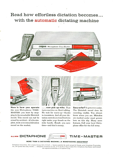 Dictaphone Time Master Ad 1958