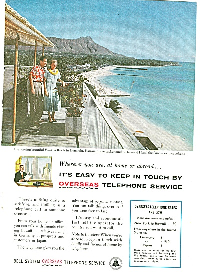 Bell System overseas telephone service ad 1958 HAWAII (Image1)