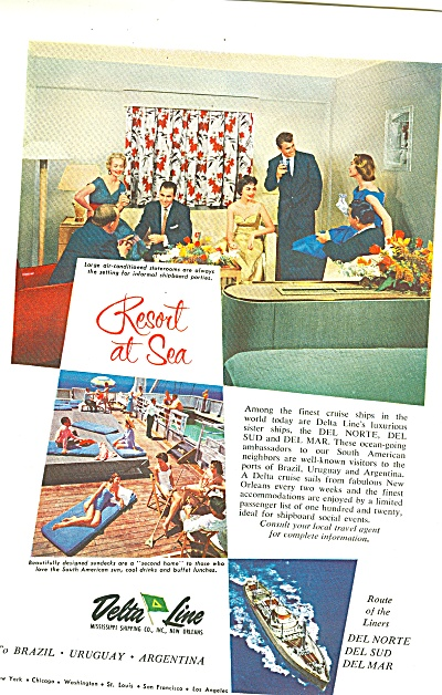 Delta Line Ad 1957 Resort At Sea