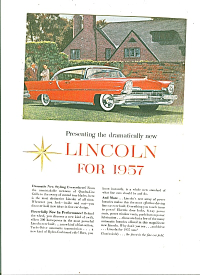 Lincoln Auto For 1957 Ad
