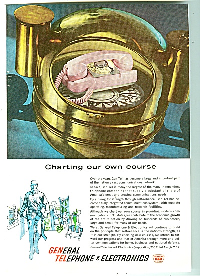 General Telephone & Electronics Ad 1961 Pink Phone
