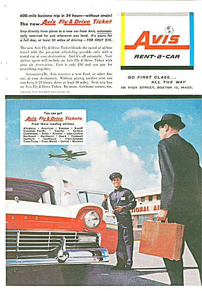 Avis Rent A Car Ad - 1957