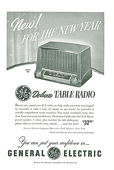 General Electric Table Radio Ad 1951
