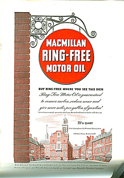1944 Macmillan Motor Oil Ad Old State House Boston