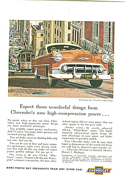 Chevrolet Automobile Ad 1953 New Two Ten Sedan