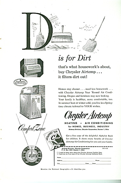 1953 Chrysler Airtemp Ad - D Is For Dirt Home Ac Hvac