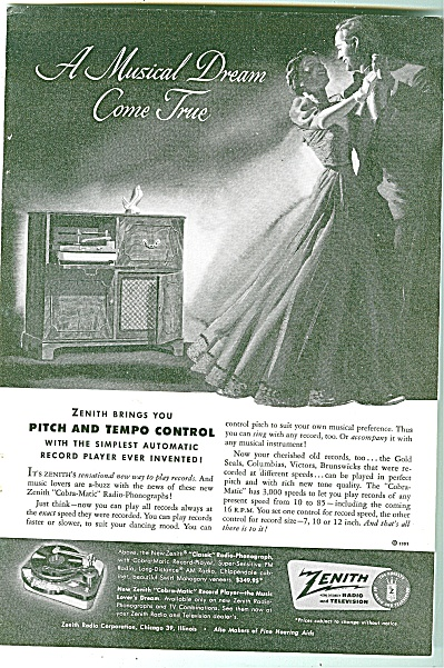 Zenith Radio and television ad 1951 (Image1)