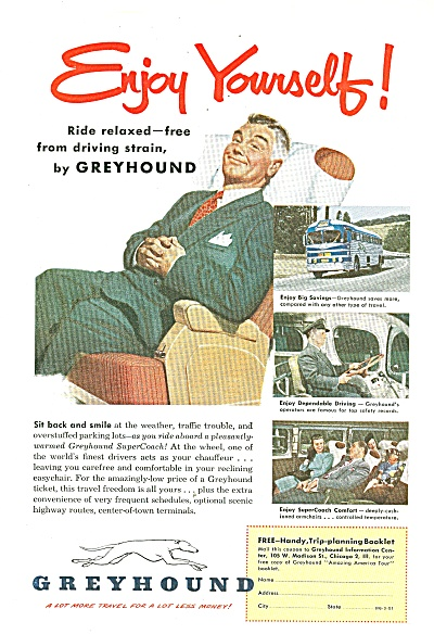 Greyhound Bus Ad 1951