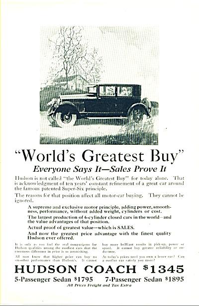 Hudson Coach automobile ad 1925 (Image1)