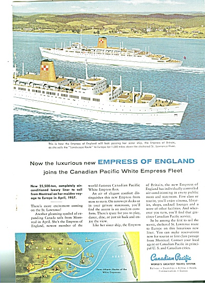 Canadian Pacific Fleet Ad 1956