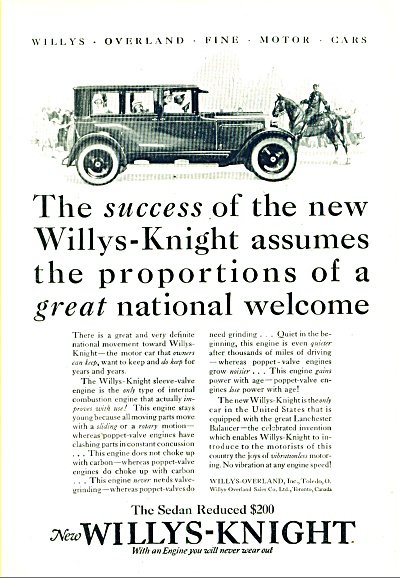 The Willys-knight Automobile Ad 1925